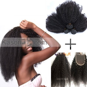3 Bundles Afro Kinky Weaves With Lace Closure 100% Unprocessed Virgin Human Hair Mongolian Afro Kinky Curly Hair With Closure