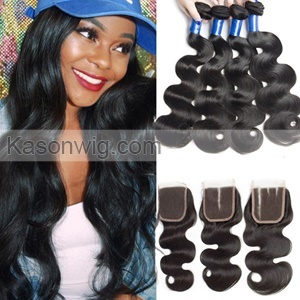 Peruvian Body Wave Hair With Closure 4 Bundles Peruvian Virgin Hair With 1 Piece Lace Closure Natural Color Can Be Dyed