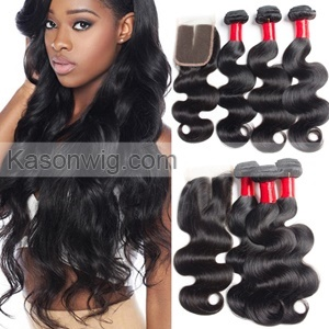 Unprocessed Virgin Indian Hair With Closure 3 Bundles Indian Body Wave Virgin Hair With Lace Closure Free Shipping