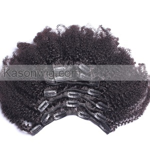 Kinky Curly Clip In Human Hair Extensions African American Afro Curly Remy 100% Human Hair Natural Black