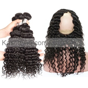 360 Lace Frontal With Bundles Malaysian Virgin Hair Deep Wave With Lace Frontal Closure Human Hair Lace 360 Frontal With Bundles