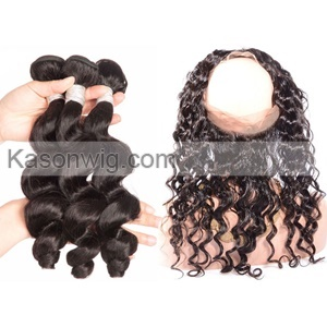 360 Lace Frontal Closure With Loose Wave Hair 3 Bundles Malaysian 360 Lace Frontal With Bundles Malaysian Loose Wave Virgin Hair