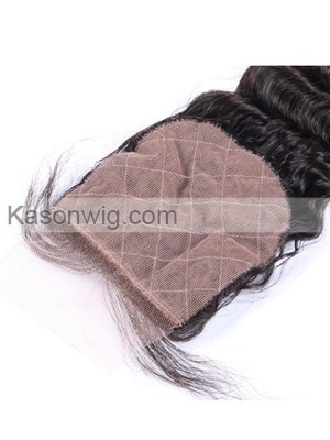 "Brazilian Curly Remy Hair Deep Wave Silk Base Closure 100% Human Hair 4""*4"" Siwss Lace With Bleached Knots"