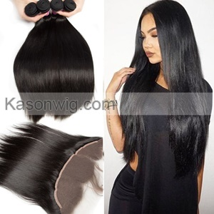 13x4 Indian Straight Lace Frontal Closure With Bundles Human Hair Weft With Closure Indian Straight Virgin Hair With Frontal