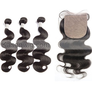 Silk Base Closure With Bundles Brazilian Virgin Hair Body Wave 4Pc Lot 1Pc Middle/Free/3 Part Silk Closure With Bundles 8A