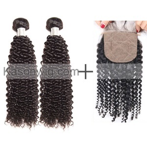 2Pcs Kason Hair Mogolian Virgin Hair Kinky Curly Bundles With 1 Piece Silk Base Closure 3Pc/Lot Human Virgin Hair Free shipping