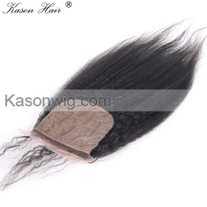3Pc/Lot Human Virgin Hair 2Pcs Brazilian Virgin Hair Kinky Straight With 1 Piece Silk Base Closure Free shipping