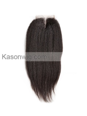 Kinky Straight 5*5 Lace Closure For Black Women With Baby Hair Brazilian Remy Hair Natural Color Free Shipping