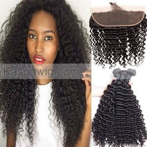 Indian Virgin Hair Lace Frontal With Bundles Deep Wave Curly Lace Frontal Closure With 3Bundles 100% Indian Human Hair Bundles With Frontal