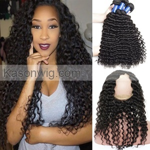 Peruvian 360 Frontals With Bundles Human Hair Peruvian Deep Curly Pre Plucked 360 Lace Frontal Closure With 3Bundles Free Shipping