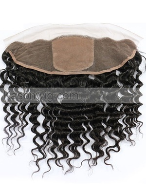 Deep Wave 13x4 Silk Top Lace Frontal Brazilian Human Hair With Baby Hair Bleached Knots Remy Hair Frontal