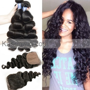 Peruvian Loose Wave Silk Base Closure With Bundles Unprocessed Human Hair 3Bundles With Closure Peruvian Virgin Hair Bundles Closures Free Shipping