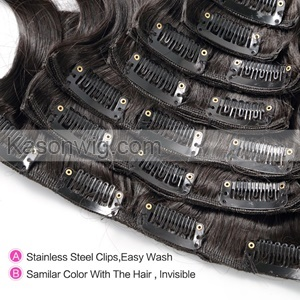 Kinky Curly Clip In Human Hair Extension Peruvian Virgin Hair Kinky Curly Human Clip In Curly Hair Extensions 8Pcs/ Set For Black Women