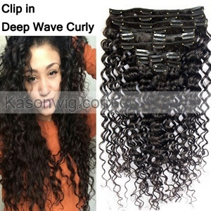 Deep Curly Hair Clip In Human Hair Extensions 8Pcs 100G/Set Peruvian Deep Wave Human Hair Curly Clip In Extensions For Black Women