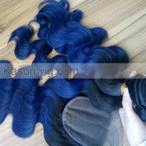 Ombre 1B Blue Color Body Wave Human Hair Bundles With Closure Top Grade Unprocessed Human Peruvian Hair Bundles Closures Deals No Tangle No Shedding