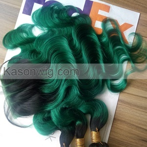 Ombre 1B Green Human Hair 3Bundles With Lace Closure Best Quality Peruvian Virgin Hair With Top Closure Fashion Summer Green Color