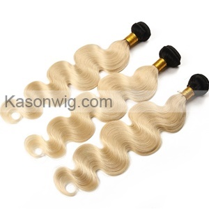 Ombre Human Hair Lace Closure With Bundles Ombre 1B Blonde Body Wave Human Hair 3Bundles With Closure 613 Peruvian Virgin Hair Extensions