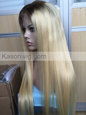 Ombre 1B Blonde Human Hair Full Lace Wig One Doner Peruvian Remy Straight Hair For Black Women Dark Roots 613 Medium Brown Lace