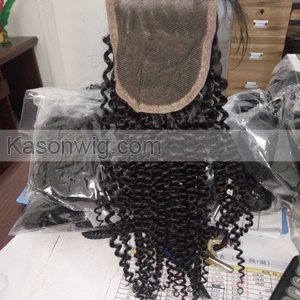 Tight African Kinky Curly Human Hair With Lace Closure Unprocessed Peruvian Virgin Hair Kinky Curly Fuller 3Bundles With Closure Free Middle Three Part