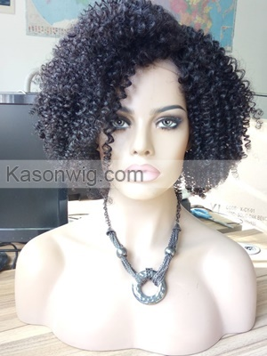 Hot Sale African Kinky Curly Full Lace Human Hair Wig 130% Denisty Kason Hair Full Lace Wig With Baby Hair Adjustment And Clips Caps Free Shipping