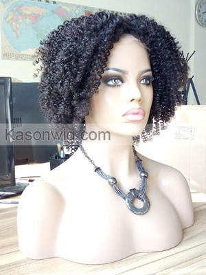 Kason Lace Front Human Hair Wig Peruvian Kinky Curly Bob Lace Front Wig For Black Women Swiss Lace Top Grade Higher 130% Density