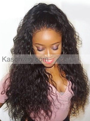"Full Lace Human Hair Wigs Wavy Lace Wig Unprocessed Virgin Brazilian Hair Water Wave For Black Women 8-26"" In Stock"