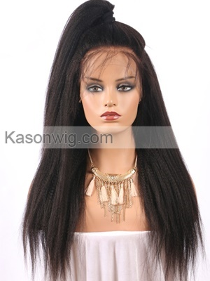 Brazilian Virgin Hair Yaki Straight 360 Frontal Wig Human Hair Lace Front Wig Natural Hairline Baby Hair