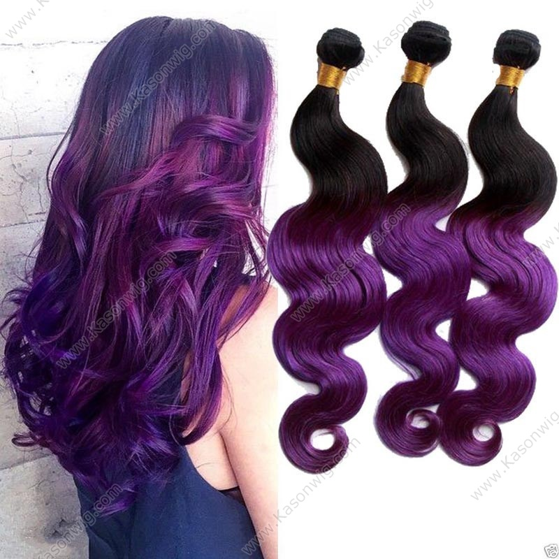 1B Purple Ombre Color Human Hair 3 Bundles Peruvian Body Wave Virgin Hair Human Hair Weave Bundles Free Shipping