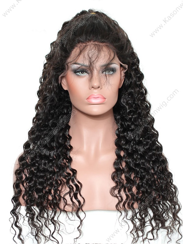 Fashionable Curly Full Lace Wig Peruvian Virgin Hair Deep Curly Full Lace Human Hair Wig Natural Color