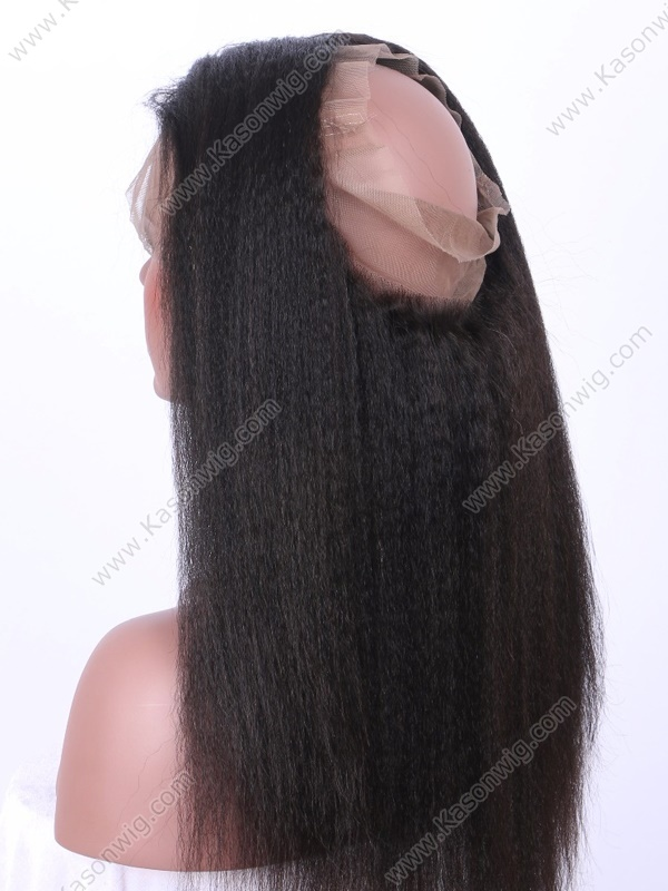 Peruvian 360 Lace Frontal Closure Kinky Straight Pre Plucked Frontal Peruvian Virgin Human Hair Bleached Knots