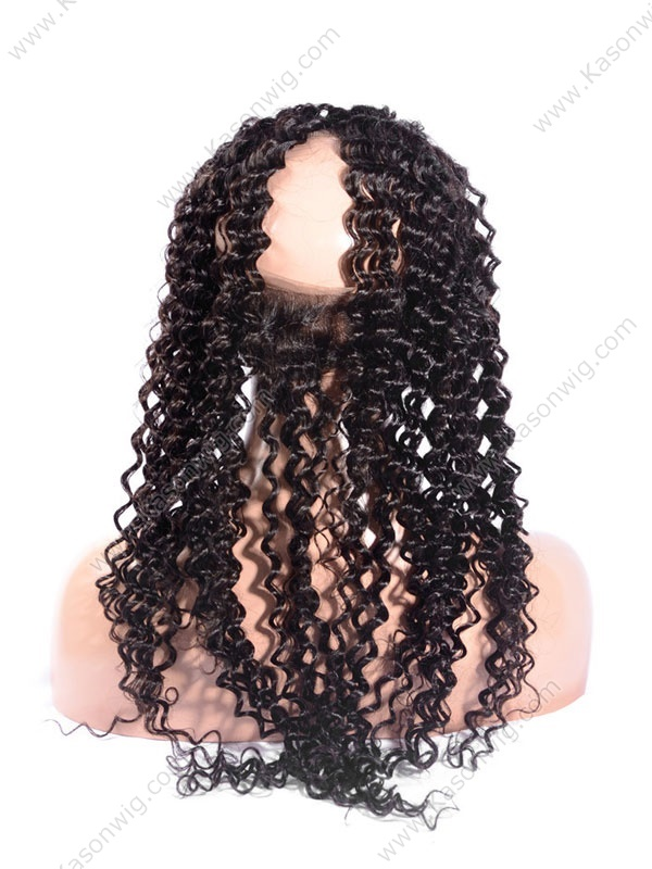 Deep Curly Brazilian Virgin Hair 360 Lace Frontal Natural Color Bleached Knots Preplucked Closure With Baby Hair