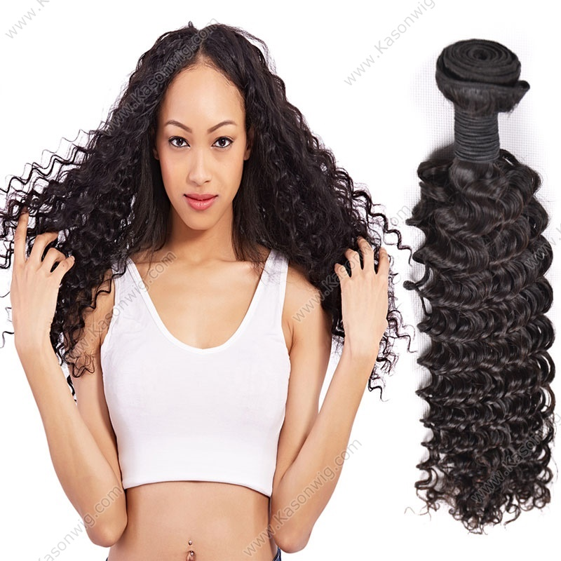 Deep Wave Brazilian Virgin Hair 100% Human Hair Weave Bundles Hair Weaving Extensions Natural Color 1Piece/Lot Free Shipping