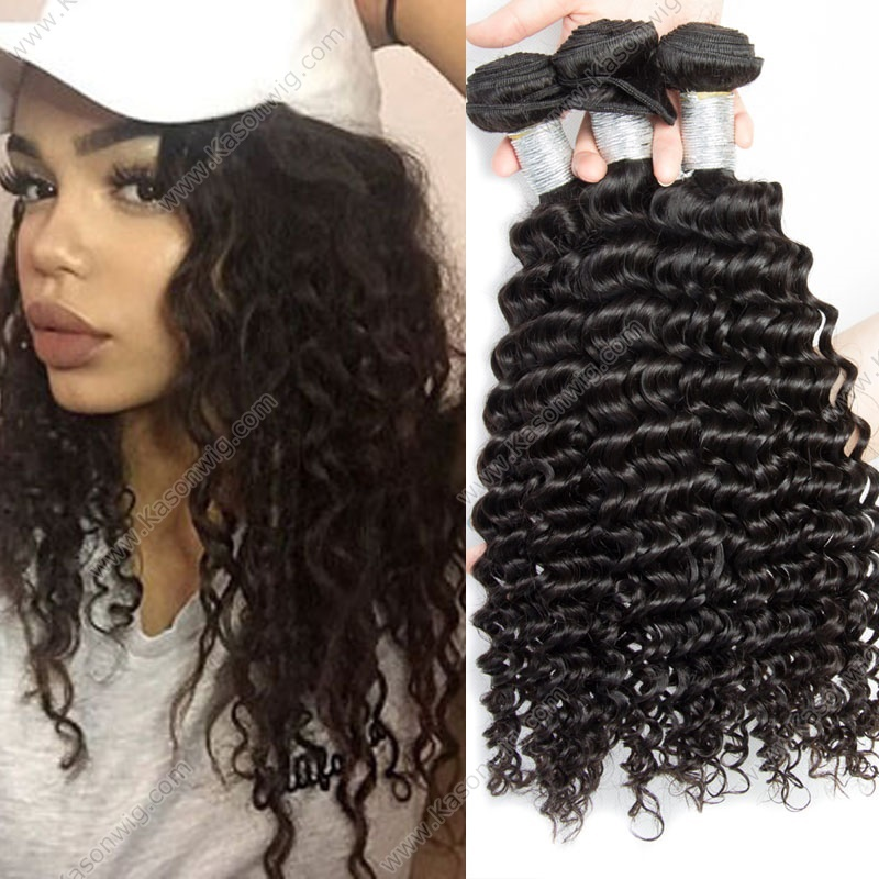 3Pcs/Lot Deep Curly Peruvian Virgin Hair Free Shipping Natural Color Unprocessed Human Hair Weave Bundles