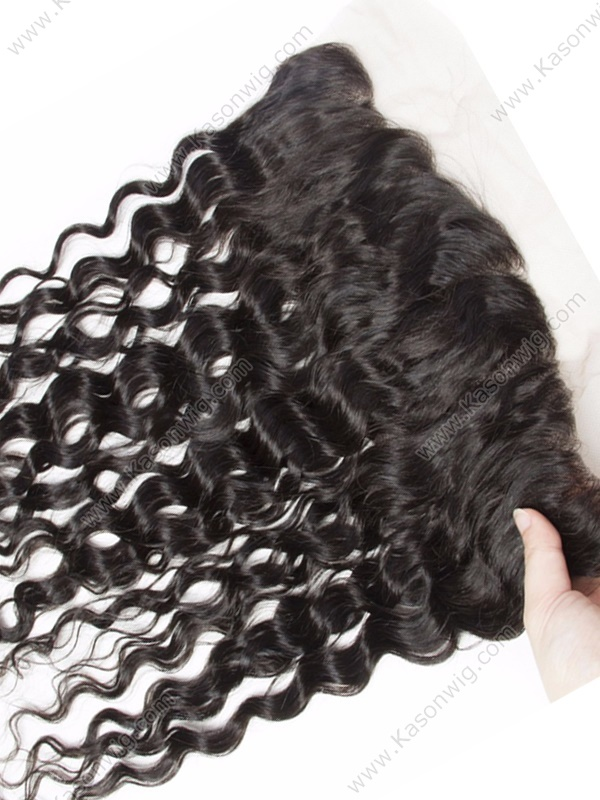 Peruvian Water Wave Hair Lace Frontal 13x4 Best Quality Virgin Human Hair Lace Frontal Closure With Baby Hair Bleached Knots