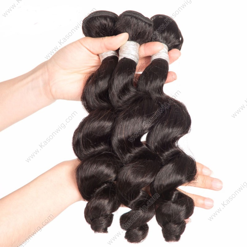 Hot Beauty Hair Loose Wave Malaysian Remy Hair Natural Black Color Human Hair Weaving 1PC Only Free Shipping