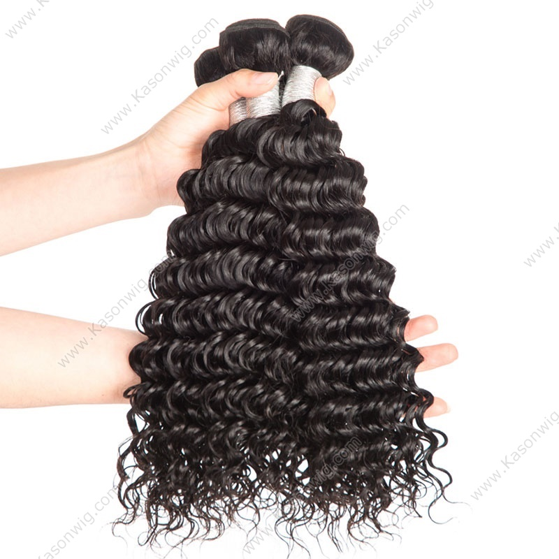 "Deep Wave Malaysian Hair Weave Bundles 3Pcs/Lot Remy Hair Weave 8""-30"" Human Hair Bundles Natural Black Color Hair Weaving"