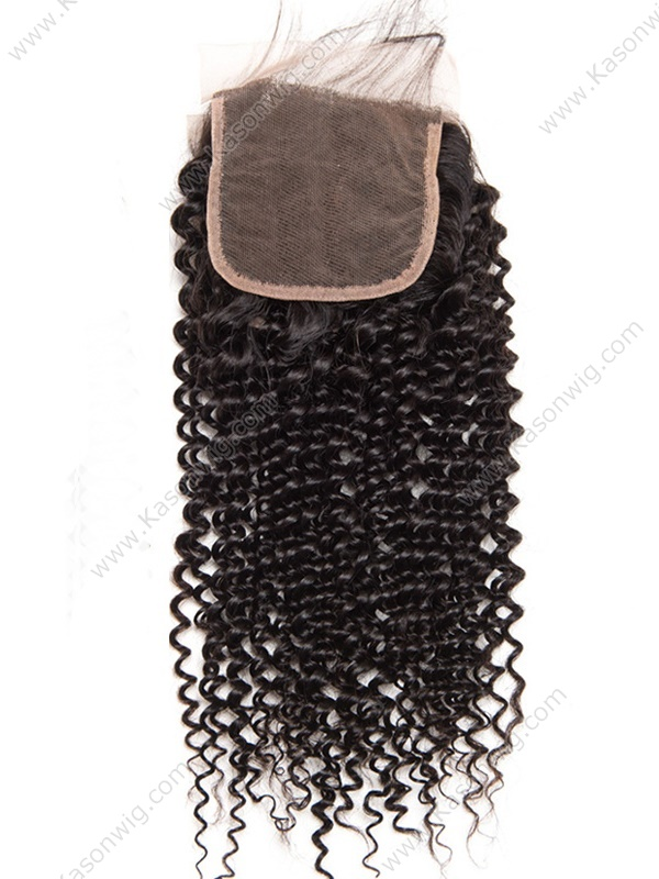 100% Indian Virgin Hair Kinky Curly Closure Indian Curly Lace Closure Bleached Knots 4X4 Lace Top Closure Free Shipping