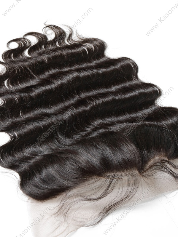 Lace Frontal Closure 13X4 Free Part Body Wave Peruvian Remy Hair with Bleached Knots 100% Human Hair Closure Frontals