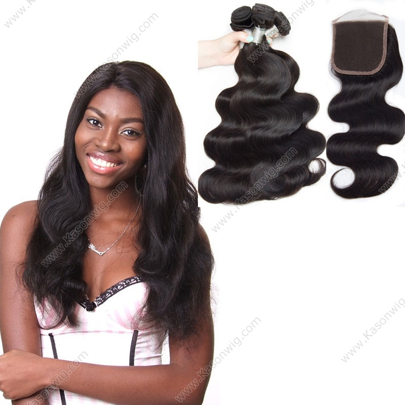 "Body Wave, 1 Piece Lace Top Closure And 3Pcs Hair Bundle 100% Brazilian Virgin Hair Weft, 8""-30"" Free shipping By DHL"