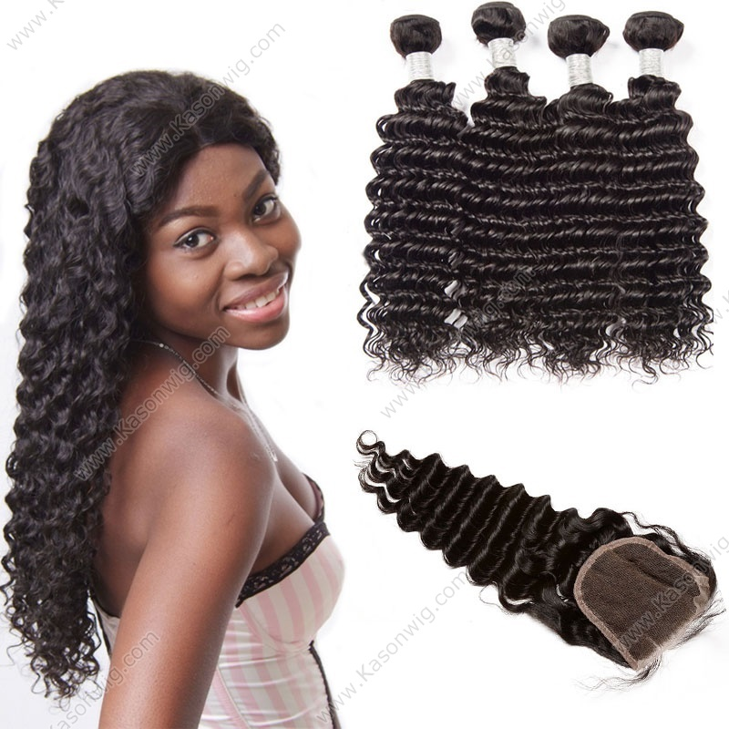 Brazilian Deep Wave Virgin Hair With Closure 3/4 Bundles With Closure 100% Unprocessed Human Hair Weave With Closure