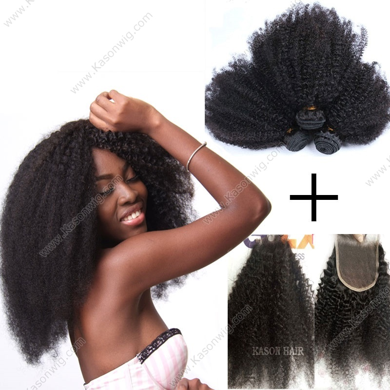 3 Bundles Afro Kinky Weaves With Lace Closure, 100% Unprocessed Virgin Human Hair, Mongolian Afro Kinky Curly Hair With Closure