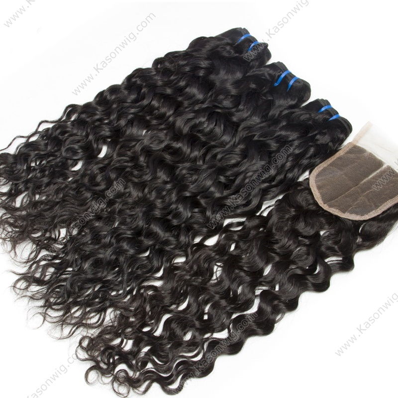 Peruvian Virgin Hair With Closure Peruvian Water Wave With Lace Closure Wet And Wavy Natural Water Wave 3 Bundles With Closure