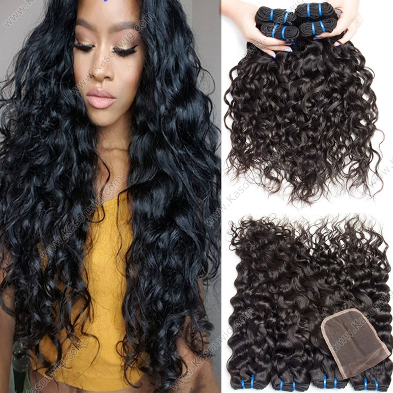 4Bundles Wet And Wavy Peruvian Virgin Hair With Closure Water Wave Hair With Lace Closure 100% Human Virgin Hair