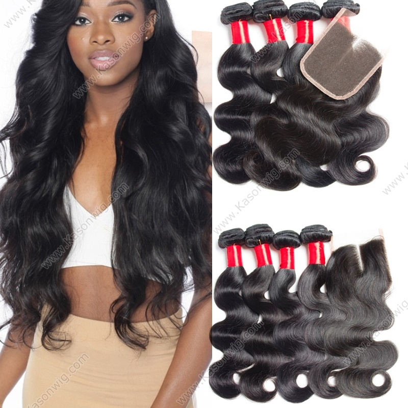 Indian Body Wave Virgin Hair With Closure, Lace Closure With Human Hair Weave 4 Bundles Indian Virgin Hair With Closue