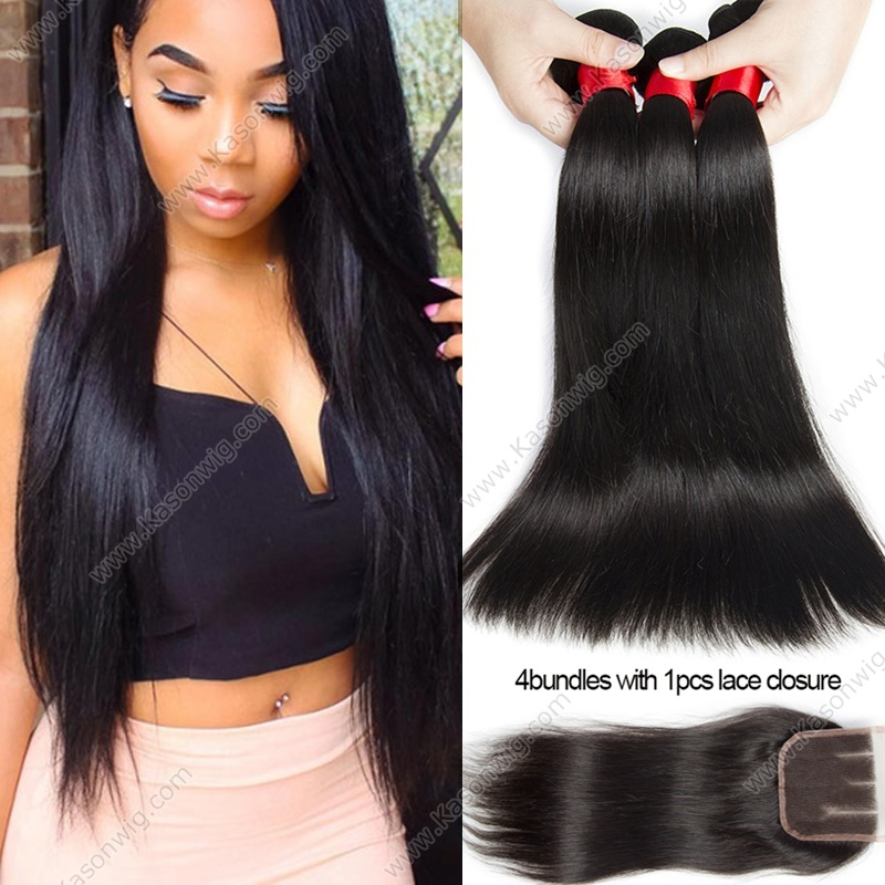 Mink Indian Virgin Hair With Closure Human Hair Weave 3 Bundles With Lace Closure Indian Straight Hair With Closure