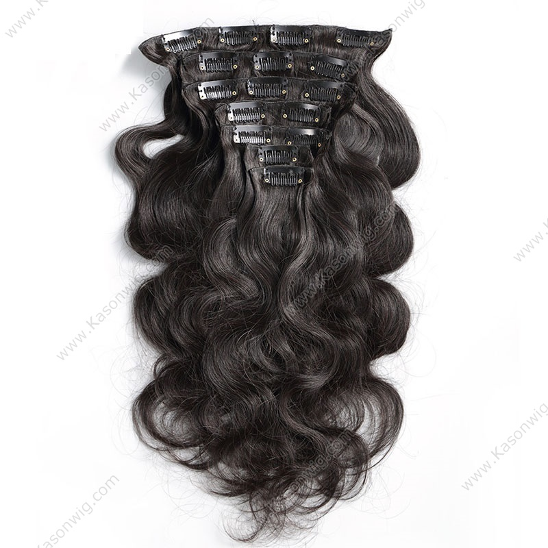 Clip In Human Hair Extensions Body Wave Natural Color Remy Hair 8-30 inch