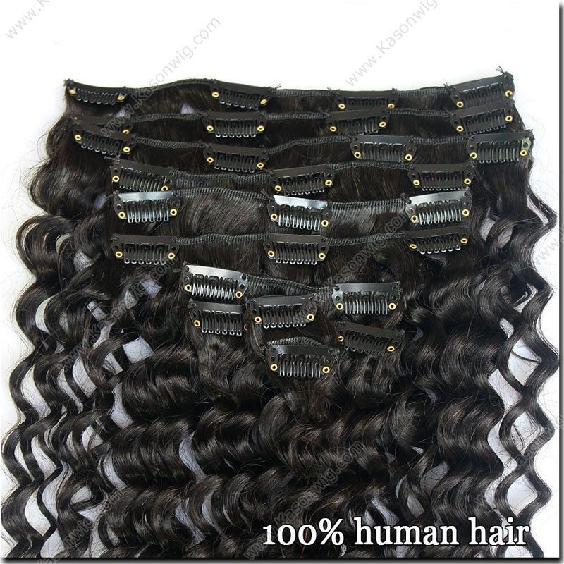 Clip In Human Hair Extensions 8Pcs/Set Natural Color Brazilian Deep Wave Virgin Hair Free Shipping