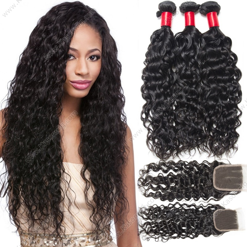 4X4 Lace Closure With 3 Bundles Indian Virgin Hair Water Wave 3Bundles With Closure Unprocessed Human Wet And Wavy Hair