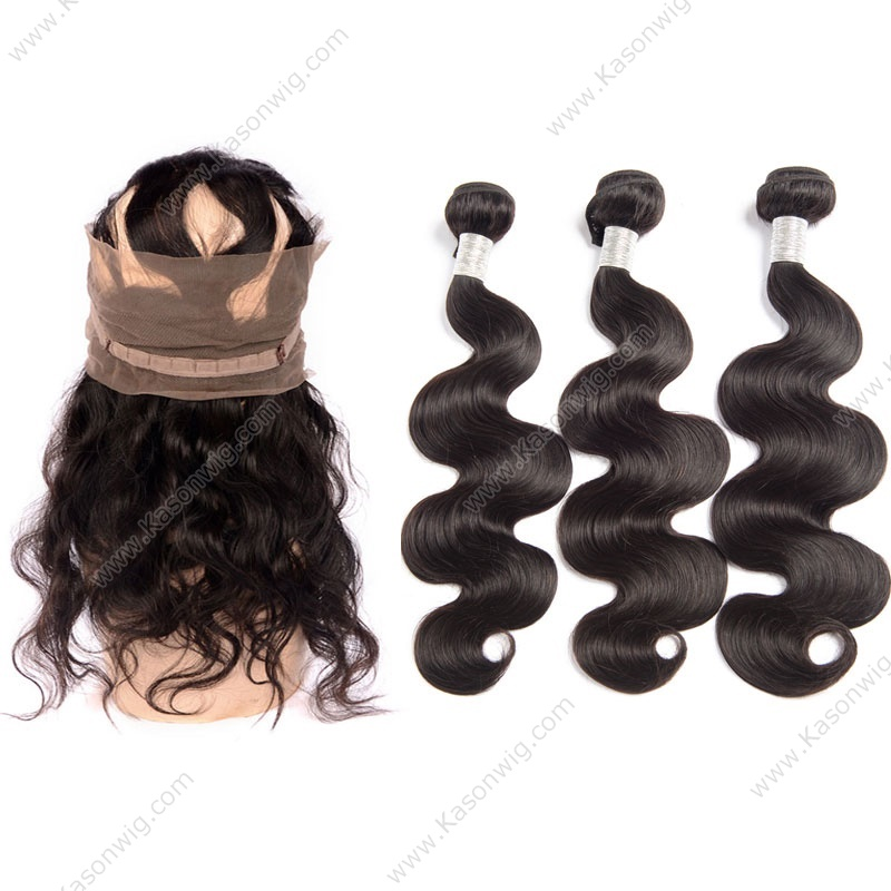 Pre Plucked 360 Lace Frontal With Bundle 3Pcs Brazilian Body Wave Natural Hair Line 360 Lace Frontal With Bundles