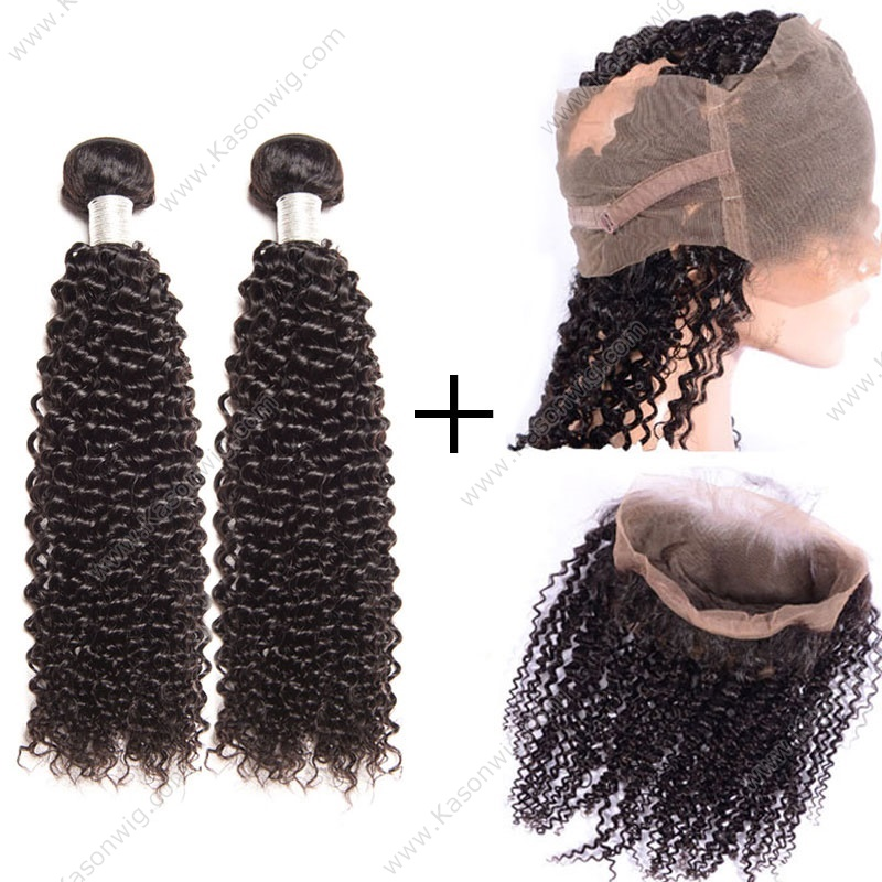 360 Lace Frontal Closure With Kinky Curly Hair 2 Bundles Mogolian 360 Lace Frontal With Bundles Mogolian Kinky Curly Virgin Hair